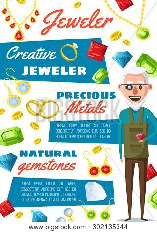 Jeweler Professional Worker And Jewelry Bijou Gemstones Appraiser. Vector Jewelry Goldsmith Repair E