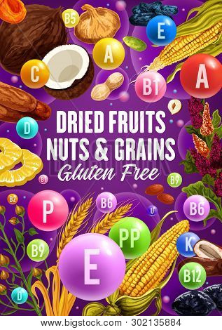 Dried Fruits, Natural Nuts And Organic Cereal Food. Vector Healthy Nutrition Superfood Vitamins, Veg