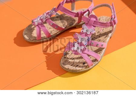 Kids Summer Sandals. Baby Shoes, Girl Pink Fashion Footwear, Leather Sandal , Moccasins.leather Whit
