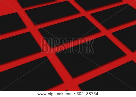 Mockup Of Horizontal Black Business Cards Stacks Arranged In Rows At Red Textured Paper Background.