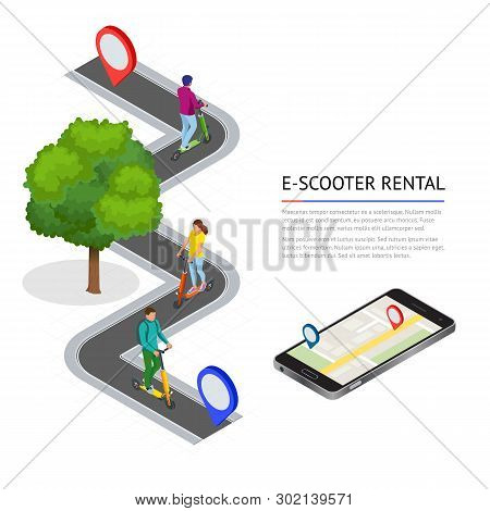Isometric Electric Scooter On The Road. Electric Scooter Transportation You Can Rent For A Quick Rid
