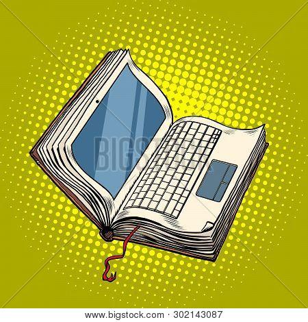 Book Laptop Electronic Library, Online Education. Pop Art Retro Vector Illustration Vintage Kitsch