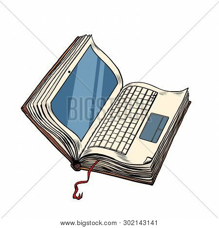 Book Laptop Electronic Library, Online Education. Isolate On White Background. Pop Art Retro Vector