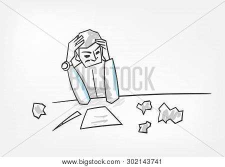Man Thinking Process Writing Letter Concept Vector Illustration