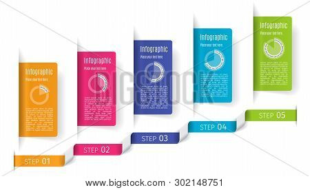 5 Steps Business Infographic Template. Can Be Used For Presentation, Web Design, Workflow Layout, Ba