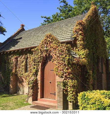 Uralla, Australia - April 11, 2019: Detail Of The Lateral Facade Of The Gostwyck Chapel, Known As Al