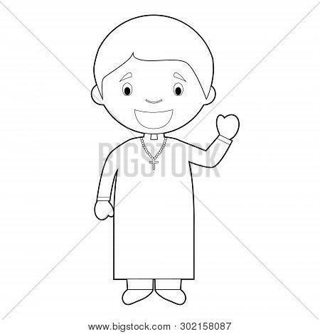 Easy Coloring Cartoon Vector Illustration Of A Priest.