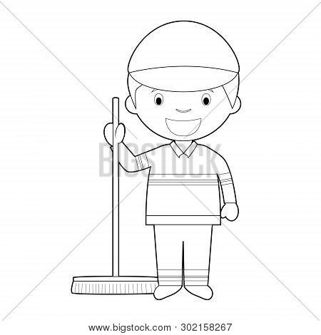 Easy coloring cartoon vector illustration of a sweeper. poster