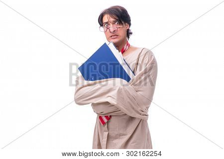 Young mad man isolated on white
