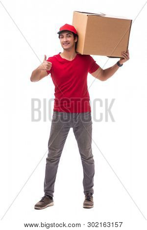 Young male courier with box