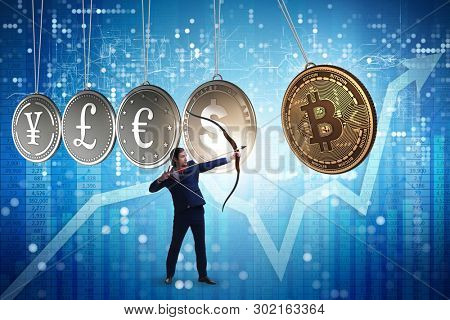 Businessman in cryptocurrency concept aiming with bow and arrow