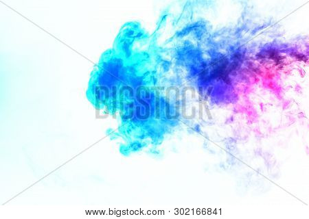 Colorful steam exhaled from the vape with a smooth transition of color molecules from turquoise to blue on a white background like a collision of two jets of smoke. Malicious virus and drug injection. poster
