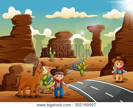 Cartoon Cowboy And Cowgirl With Animals On The Desert Road