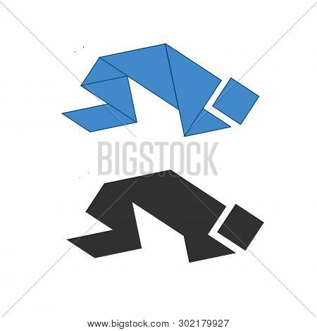 Praying Person Tangram. Traditional Chinese Dissection Puzzle, Seven Tiling Pieces - Geometric Shape