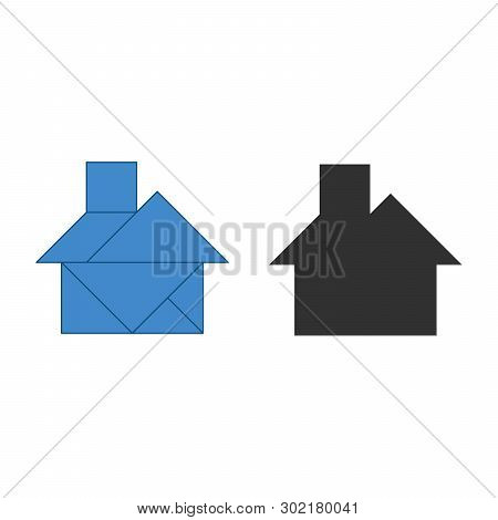 House Tangram. Traditional Chinese Dissection Puzzle, Seven Tiling Pieces - Geometric Shapes: Triang