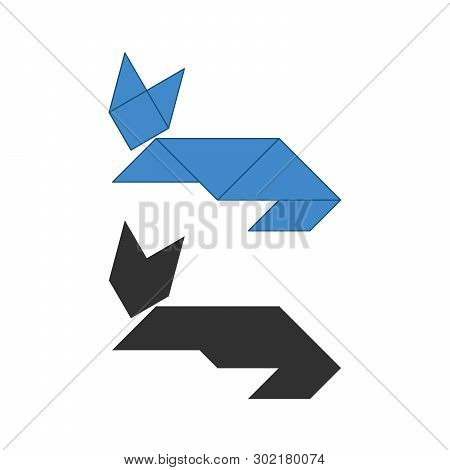 Cat Tangram. Traditional Chinese Dissection Puzzle, Seven Tiling Pieces - Geometric Shapes: Triangle
