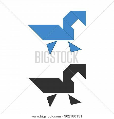Swan Tangram. Traditional Chinese Dissection Puzzle, Seven Tiling Pieces - Geometric Shapes: Triangl