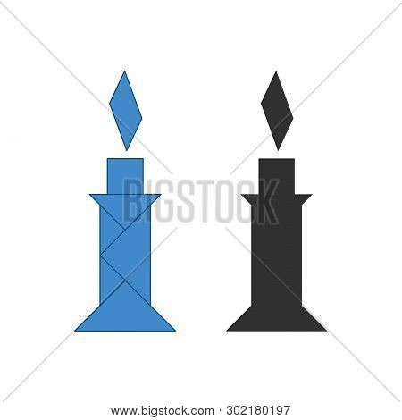 Candle Tangram. Traditional Chinese Dissection Puzzle, Seven Tiling Pieces - Geometric Shapes: Trian