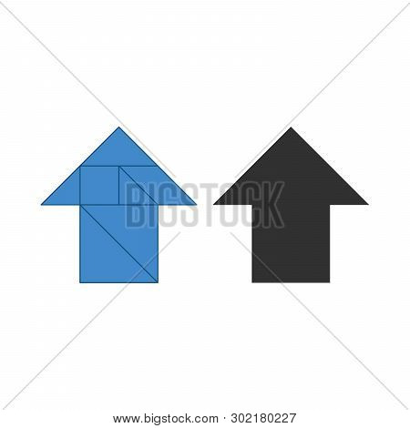 Arrow Up Tangram. Traditional Chinese Dissection Puzzle, Seven Tiling Pieces - Geometric Shapes: Tri