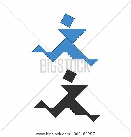 Running Man Tangram. Traditional Chinese Dissection Puzzle, Seven Tiling Pieces - Geometric Shapes: