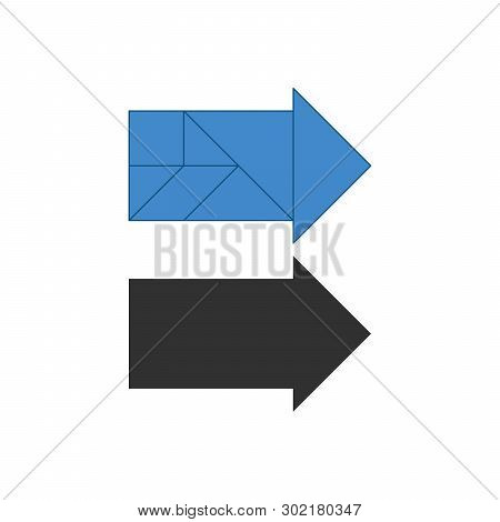 Arrow Right Tangram. Traditional Chinese Dissection Puzzle, Seven Tiling Pieces - Geometric Shapes: