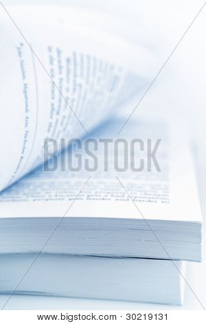 Closeup of open book pages