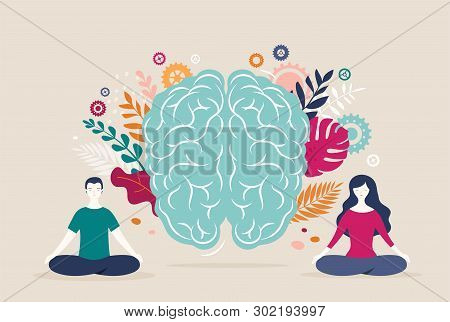 Young Woman And Man Sit With Crossed Legs And Meditate With Brain Icon On The Background. Vector Ill