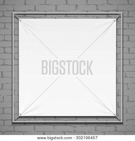 Wall Streamer Vinyl Flex White Banner, Fabric, Nylon With Folds. Corners Ropes. Shield. Mock Up, Tem