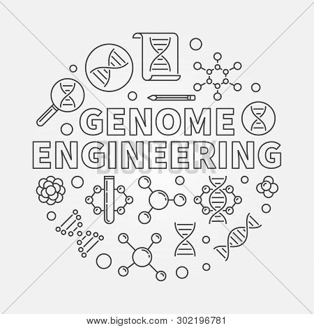 Genome Engineering Vector Round Illustration Made With Genome Editing And Dna Outline Icons