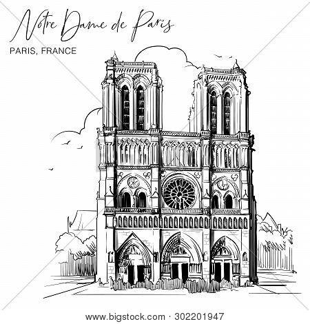 Notre Dame De Paris Cathedral Beautiful Facade. Paris, France. Linear Sketch On A Watercolor Texture