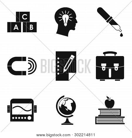 Scholarly Icons Set. Simple Set Of 9 Scholarly Icons For Web Isolated On White Background