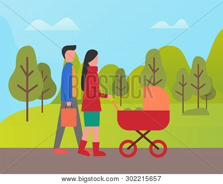 Couple Of Newlywed Walking In Park Vector, Man And Woman Strolling With Perambulator. Mother And Fat