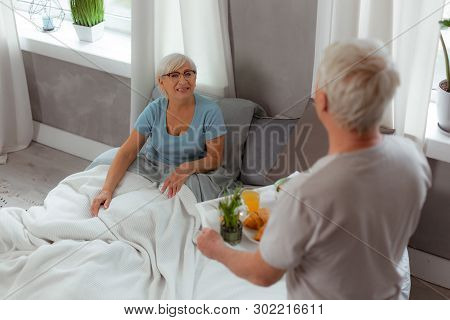 Contended Dame Receiving The Breakfast To Bed From Her Husband