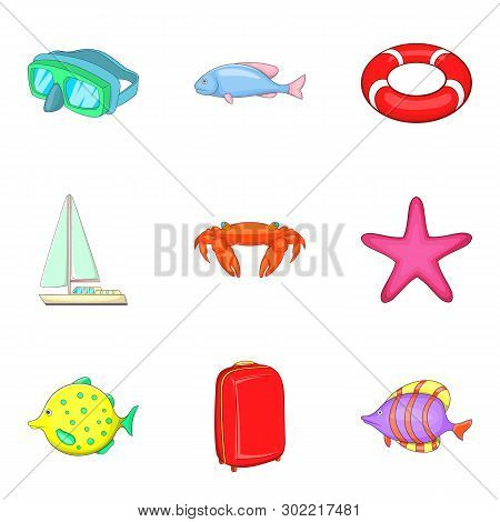 Waterside Icons Set. Cartoon Set Of 9 Waterside Icons For Web Isolated On White Background