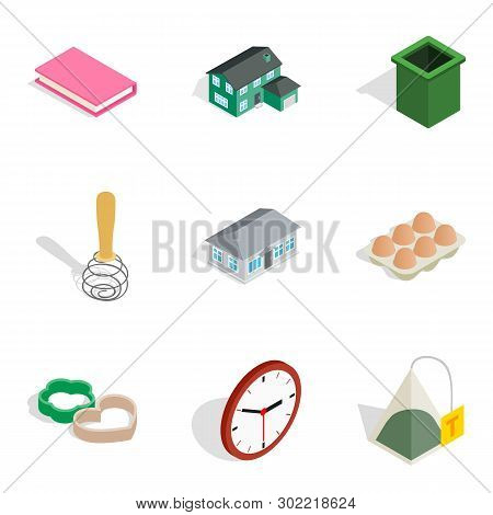 Home Environment Icons Set. Isometric Set Of 9 Home Environment Icons For Web Isolated On White Back