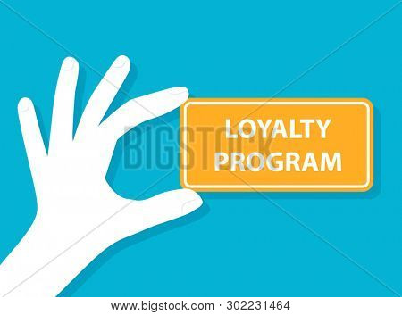 Hand holding loyalty program card. Clipart illustration