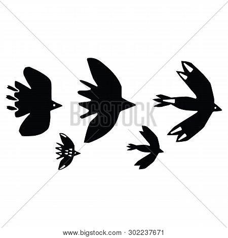 Cute Bird Flock Silhouette Cartoon Vector Illustration Motif Set. Hand Drawn Avian Life Elements Cli