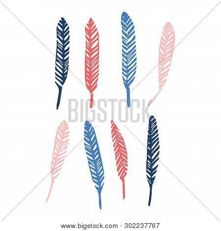 Cute avian feather silhouette cartoon vector illustration motif set. Hand drawn avian elements clipart for birdwatching. poster