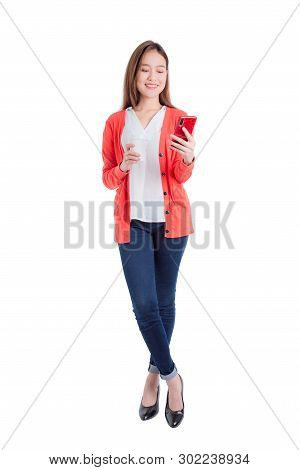 Full Length Of Beautiful Asian Woman Holding Smart Phone And Coffee Cup Isolated Over White Backgrou