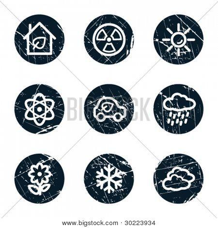 Ecology web icons set 2, grunge circle buttons