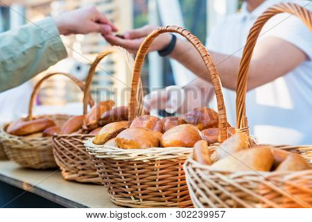 Russian Pirozhki, Baked Patties Or Pies In Basket For Sale