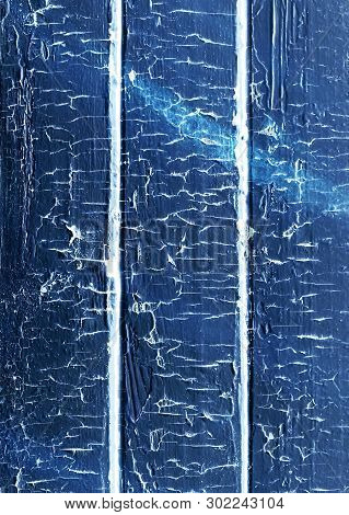 Old Weathered Wooden Plank Painted In Blue Color