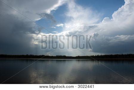 There is horizon of lake in spring poster
