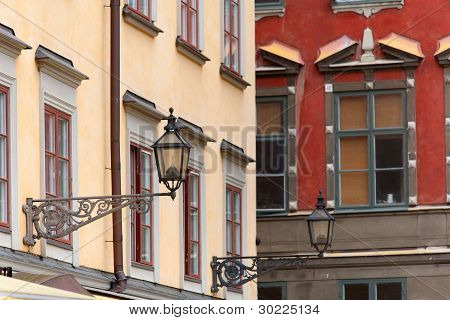 Lampposts On Colorful Red And Yellow Buildings In Stocholm