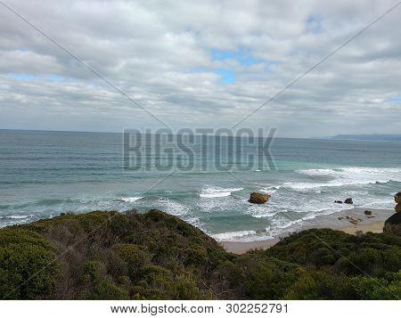 Great Ocean Road Victoria Australia Seascapes And Cloudy Sky
