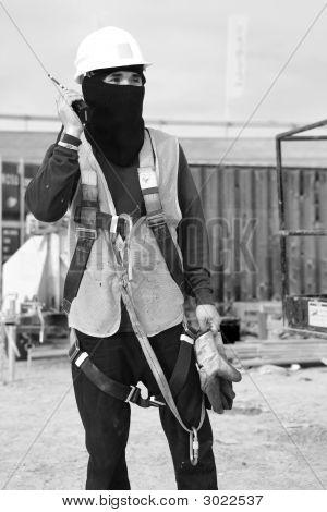 Construction Worker On A Walkietalkie