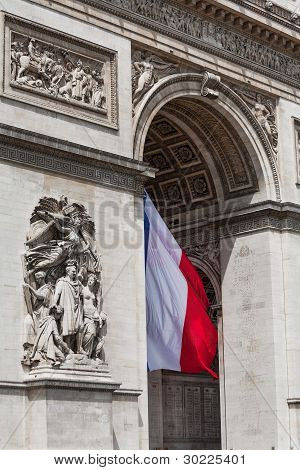 Arc De Triomphe Detail Showing French Flag