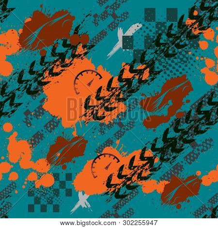 Abstract Seamless Sport Pattern For Girls, Boys. Creative Sport Vector Pattern With Car, Geometric F