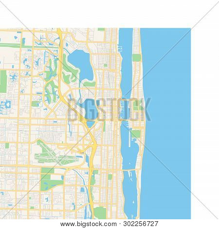 Empty Vector Map Of West Palm Beach, Florida, Usa, Printable Road Map Created In Classic Web Colors