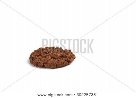 Cookies Granola With Chocolate And Hazelnuts Isolated On White Background.